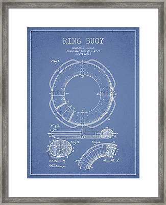 Ring Buoy Patent From 1909 - Light Blue Framed Print