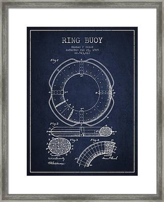 Ring Buoy Patent From 1909 - Navy Blue Framed Print by Aged Pixel