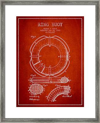 Ring Buoy Patent From 1909 - Red Framed Print by Aged Pixel