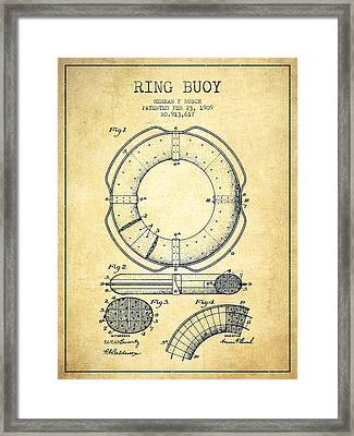 Ring Buoy Patent From 1909 - Vintage Framed Print by Aged Pixel