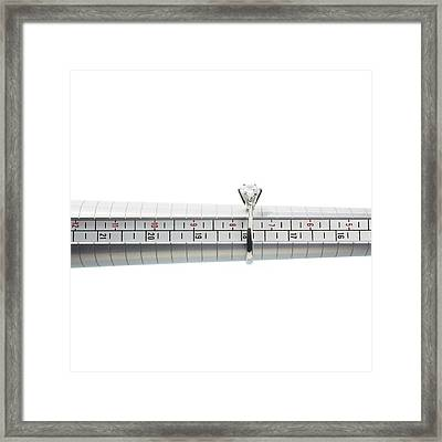 Ring Size Measuring Tool And Ring Framed Print by Science Photo Library