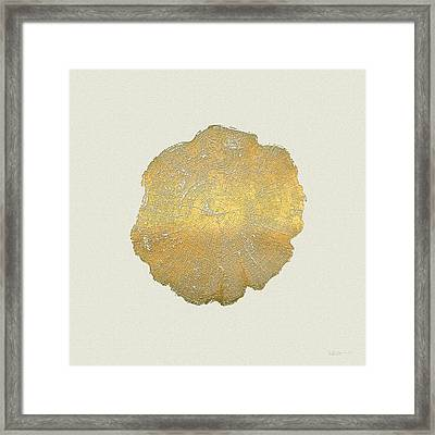 Rings Of A Tree Trunk Cross-section In Gold On Linen Beige Framed Print