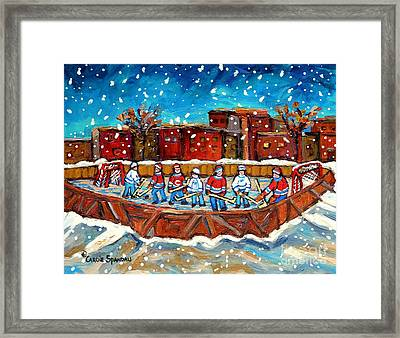Rink Hockey Game Little Montreal Superstars Montreal Memories Snowy City Scene Carole Spandau Framed Print by Carole Spandau