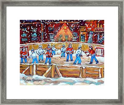 Rink Hockey In The City Montreal Memories Outdoor Hockey Fun Street Scene Painting Carole Spandau Framed Print