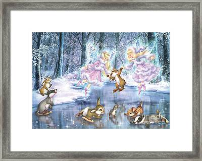 Rink In The Forest Framed Print by Zorina Baldescu