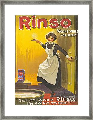 Rinso 1910s Uk Washing Powder Maids Framed Print by The Advertising Archives
