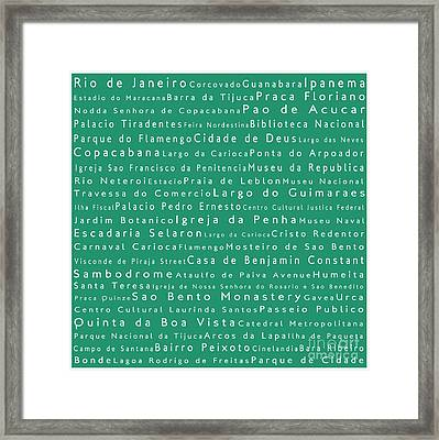 Rio De Janeiro In Words Algae Framed Print by Sabine Jacobs