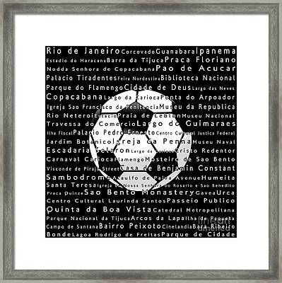 Rio De Janeiro In Words Black Soccer Framed Print by Sabine Jacobs