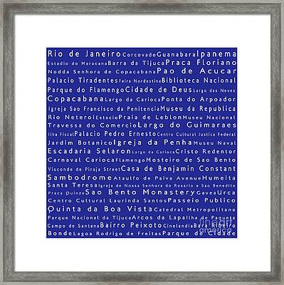 Rio De Janeiro In Words Blue Framed Print by Sabine Jacobs
