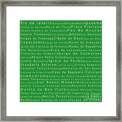 Rio De Janeiro In Words Green Framed Print by Sabine Jacobs