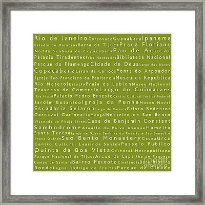Rio De Janeiro In Words Olive Framed Print by Sabine Jacobs