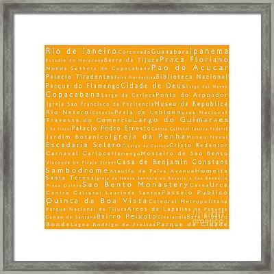 Rio De Janeiro In Words Orange Framed Print by Sabine Jacobs