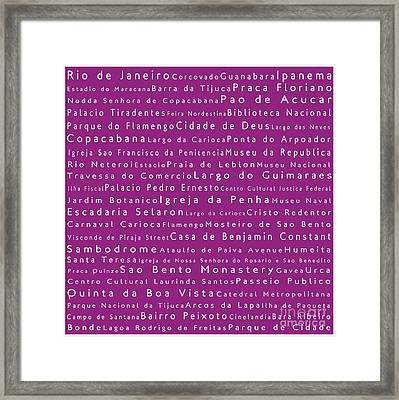 Rio De Janeiro In Words Pink Framed Print by Sabine Jacobs