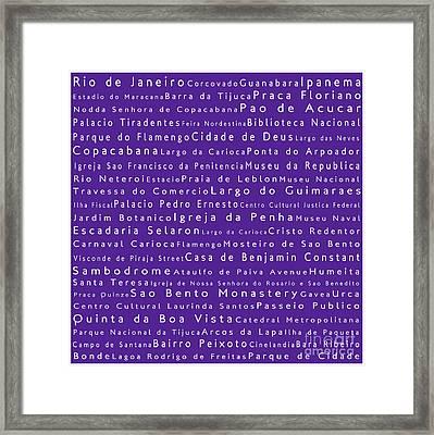Rio De Janeiro In Words Purple Framed Print by Sabine Jacobs