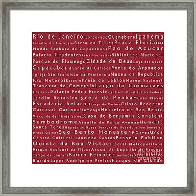 Rio De Janeiro In Words Red Framed Print by Sabine Jacobs