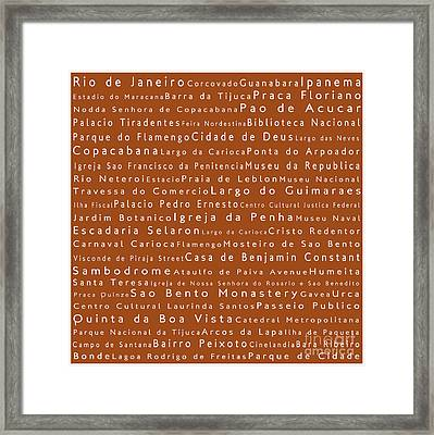 Rio De Janeiro In Words Toffee Framed Print by Sabine Jacobs