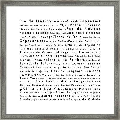 Rio De Janeiro In Words White Framed Print by Sabine Jacobs