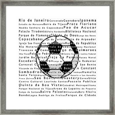 Rio De Janeiro In Words White Soccer Framed Print by Sabine Jacobs
