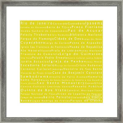 Rio De Janeiro In Words Yellow Framed Print by Sabine Jacobs