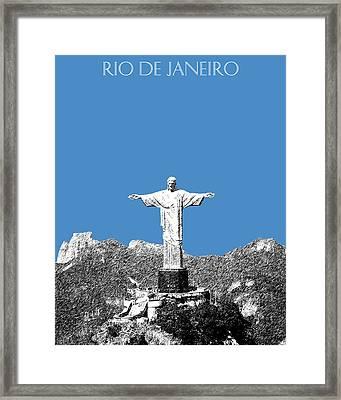 Rio De Janeiro Skyline Christ The Redeemer - Slate Framed Print