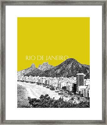 Rio De Janeiro Skyline Copacabana Beach - Mustard  Framed Print by DB Artist