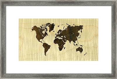 Rio Rosewood And Curly Maple World Map Framed Print by Hakon Soreide