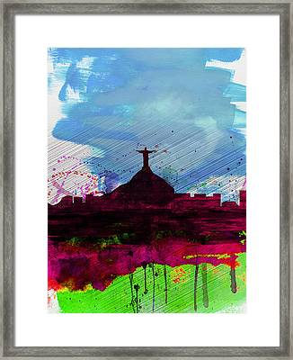 Rio Watercolor Skyline Framed Print