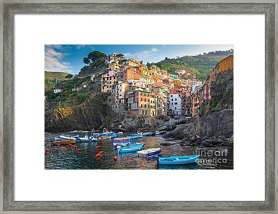 Riomaggiore Boats Framed Print by Inge Johnsson