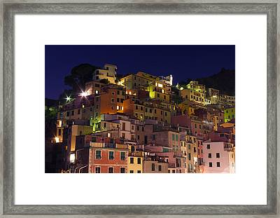 Riomaggiore Buildings At Night Framed Print by Ioan Panaite