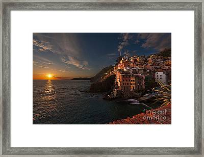 Riomaggiore Peaceful Sunset Framed Print by Mike Reid