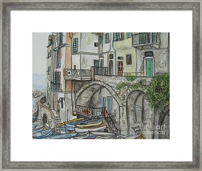 Riomaggoire Cinque Terre Italy Framed Print by Malinda  Prudhomme