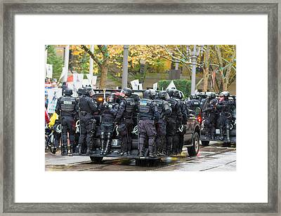 Riot Police On Vehicle To Control Occupy Portland Protest Crowd Framed Print by JPLDesigns