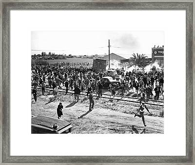 Riots At Cannery Strike Framed Print by Underwood Archives