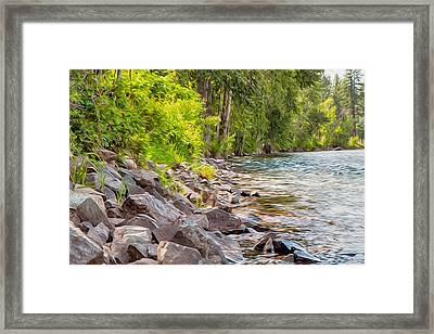 Rip Rap On The Methow River Framed Print by Omaste Witkowski