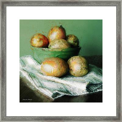 Ripe Mangoes In A Bowl Framed Print