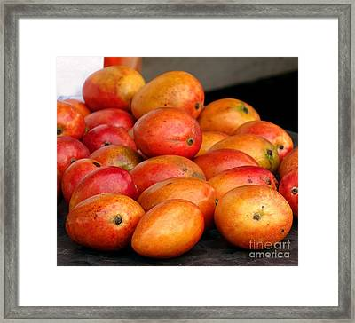 Ripe Red Mangoes For Sale Framed Print by Yali Shi