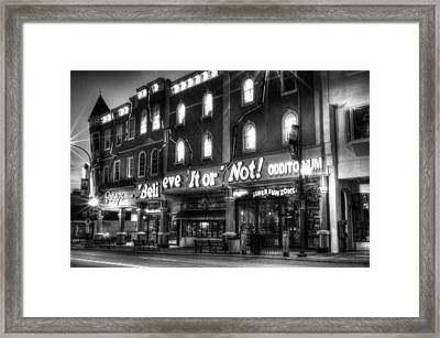 Ripley's Of Gatlinburg In Black And White Framed Print by Greg and Chrystal Mimbs