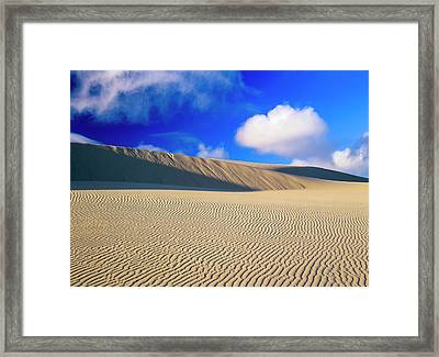 Rippled Sand And Dunes With Blue Sky Framed Print by Robert L. Potts