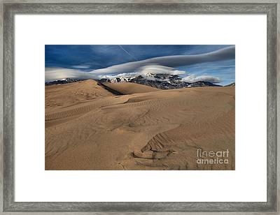 Ripples Dunes And Clouds Framed Print