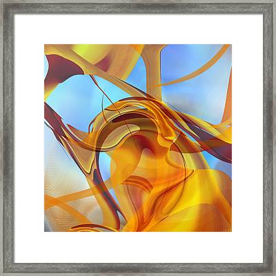 Rising Into Sky Blue Abstract Framed Print