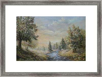 Rising Mist In The Berkshires In Ma Framed Print by  Luczay