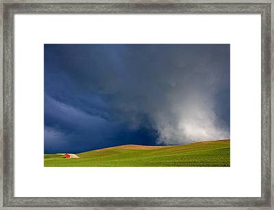 Rising Storm Over The Palouse Framed Print by Mary Lee Dereske