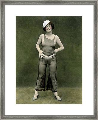 Risque Girl In Sailor Cap Framed Print by Underwood Archives