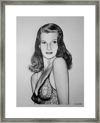 Framed Print featuring the drawing Rita Hayworth by Geni Gorani