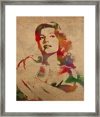 Rita Hayworth Hollywood Golden Era Actress Watercolor Portrait On Won Canvas Framed Print