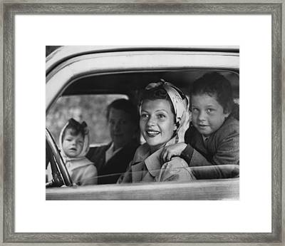 Rita Hayworth In Car Framed Print by Retro Images Archive