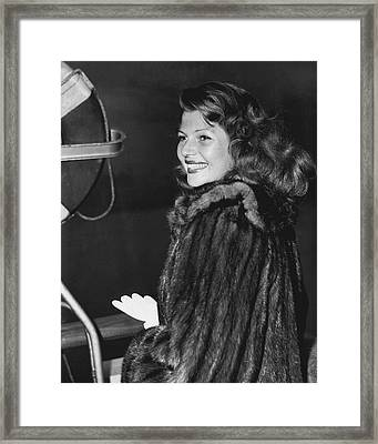 Rita Hayworth In Fur Coat Framed Print by Retro Images Archive