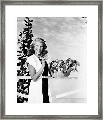 Rita Hayworth, Modeling A Black Framed Print