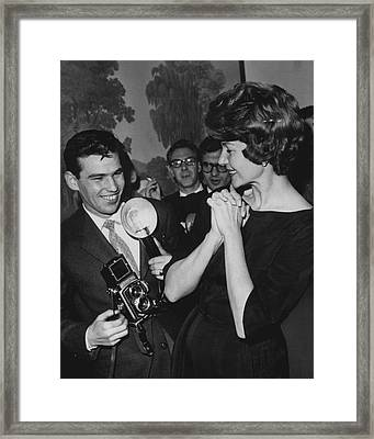 Rita Hayworth With Photographer Framed Print