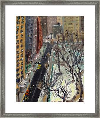 Rittenhouse Square In The Snow Framed Print by Joseph Levine